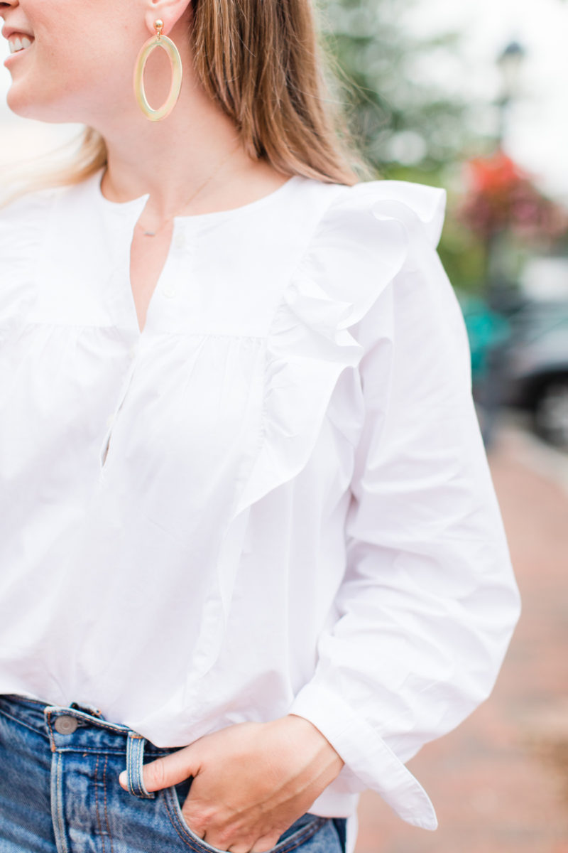 Emily Lucille J.Crew Ruffle-Front White Shirt